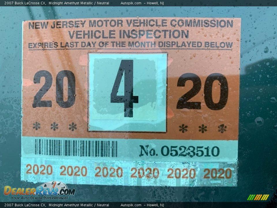 2007 Buick LaCrosse CX Midnight Amethyst Metallic / Neutral Photo #9