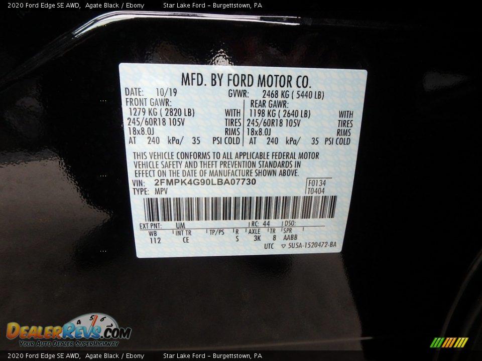 2020 Ford Edge SE AWD Agate Black / Ebony Photo #11