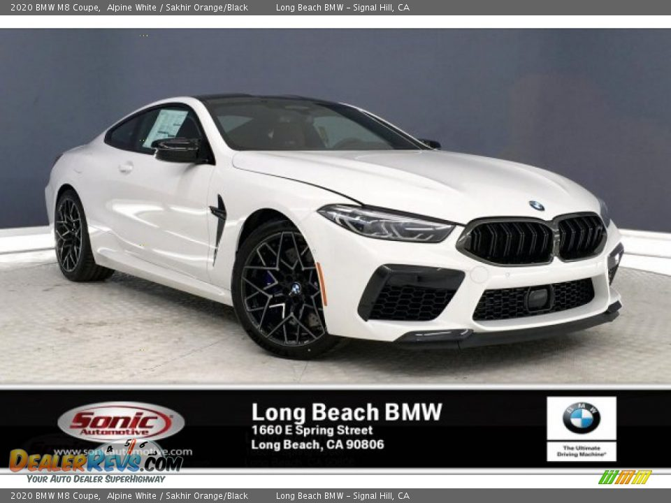 2020 BMW M8 Coupe Alpine White / Sakhir Orange/Black Photo #1