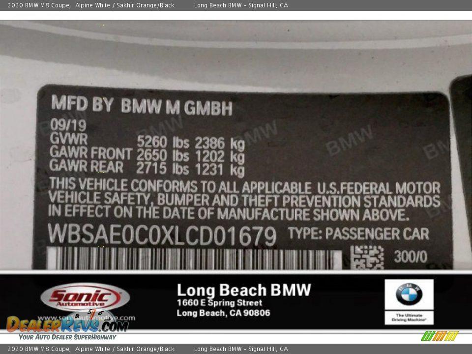 2020 BMW M8 Coupe Alpine White / Sakhir Orange/Black Photo #11