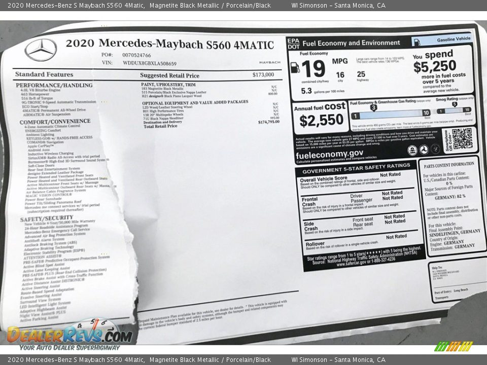 2020 Mercedes-Benz S Maybach S560 4Matic Window Sticker Photo #11