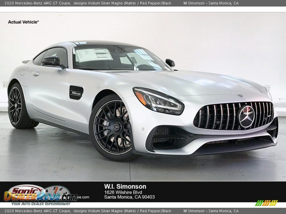 2020 Mercedes-Benz AMG GT Coupe designo Iridium Silver Magno (Matte) / Red Pepper/Black Photo #1