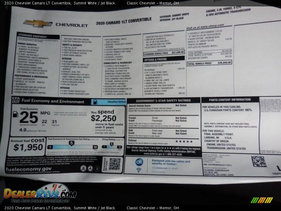 2020 Chevrolet Camaro LT Convertible Window Sticker Photo #7