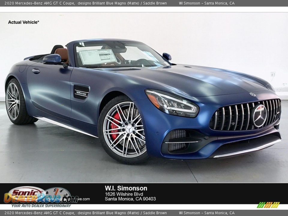 2020 Mercedes-Benz AMG GT C Coupe designo Brilliant Blue Magno (Matte) / Saddle Brown Photo #1
