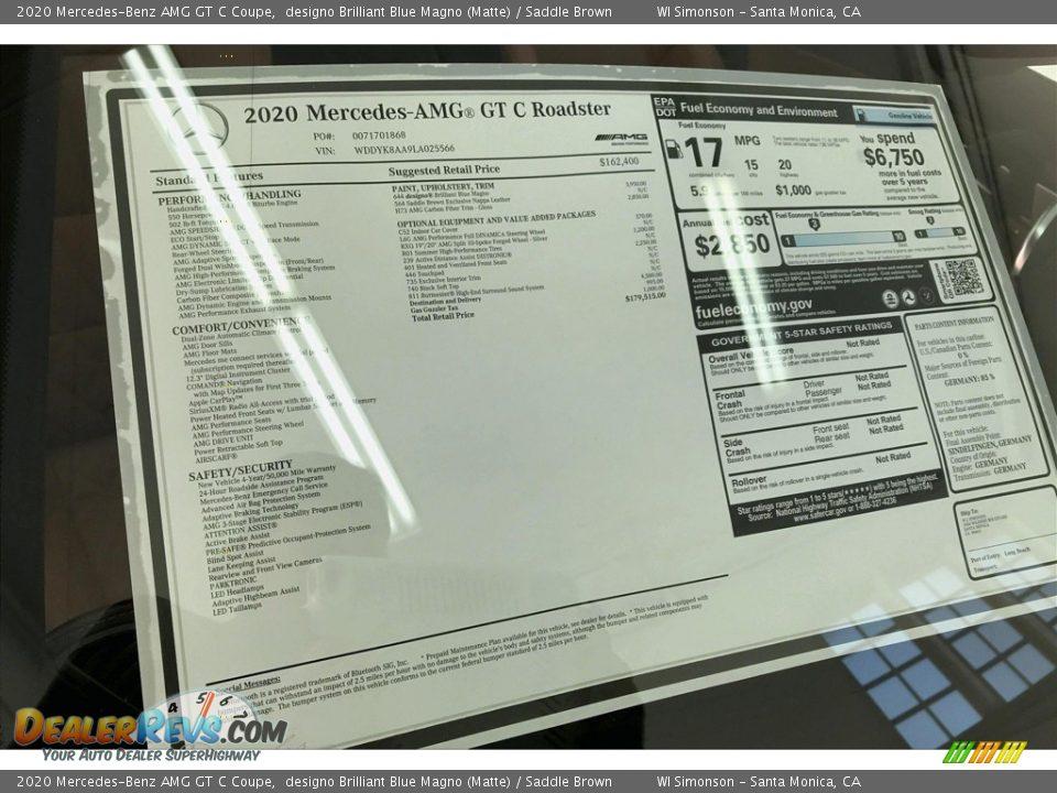 2020 Mercedes-Benz AMG GT C Coupe Window Sticker Photo #11