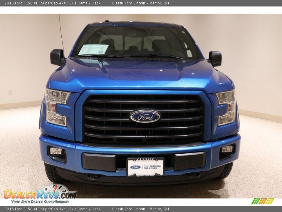 2016 Ford F150 XLT SuperCab 4x4 Blue Flame / Black Photo #2