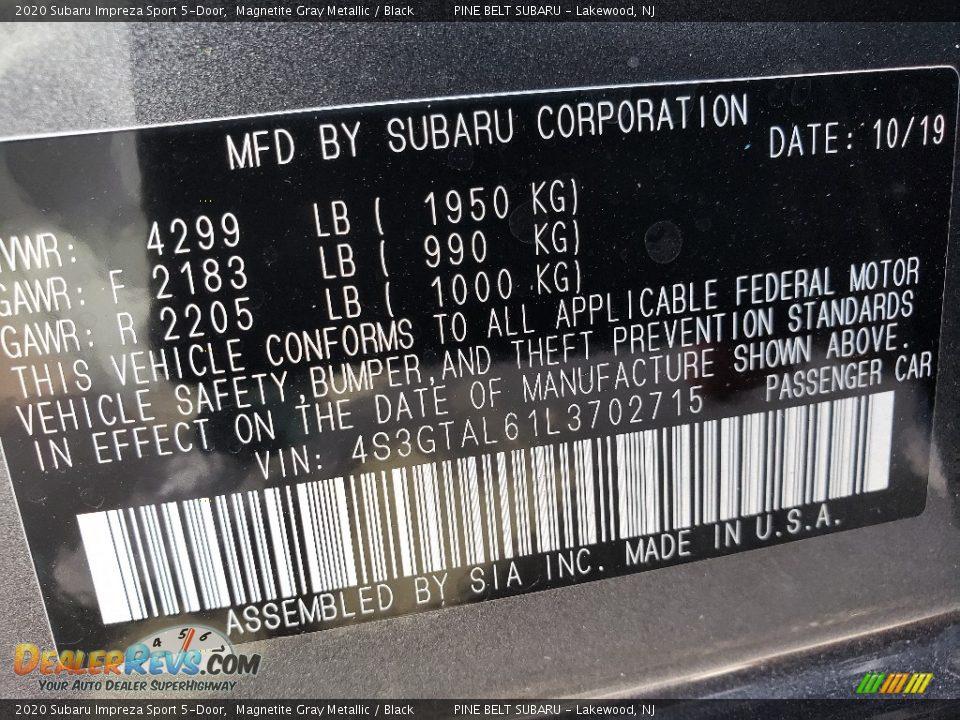 2020 Subaru Impreza Sport 5-Door Magnetite Gray Metallic / Black Photo #9