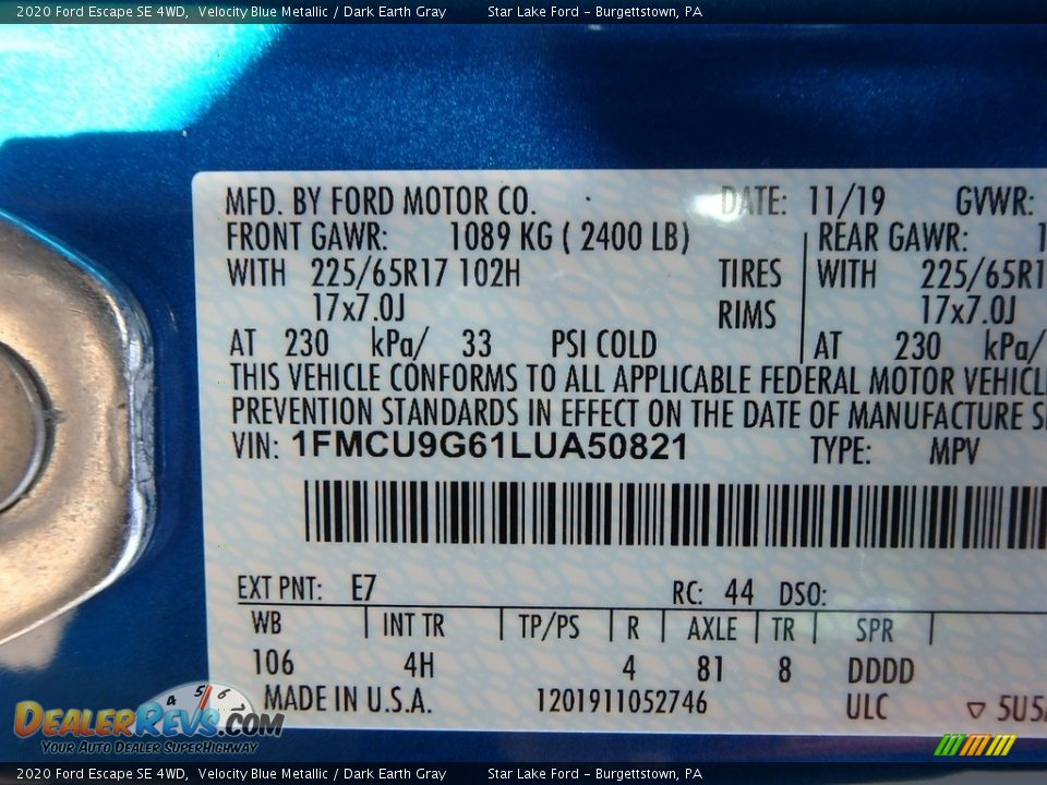 2020 Ford Escape SE 4WD Velocity Blue Metallic / Dark Earth Gray Photo #10