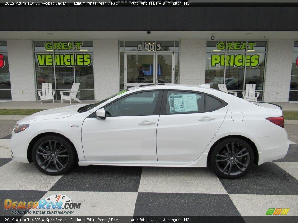 2019 Acura TLX V6 A-Spec Sedan Platinum White Pearl / Red Photo #1