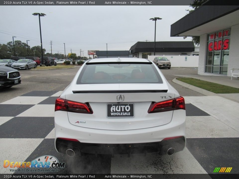2019 Acura TLX V6 A-Spec Sedan Platinum White Pearl / Red Photo #4