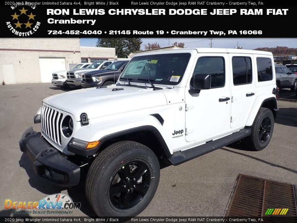 2020 Jeep Wrangler Unlimited Sahara 4x4 Bright White / Black Photo #1