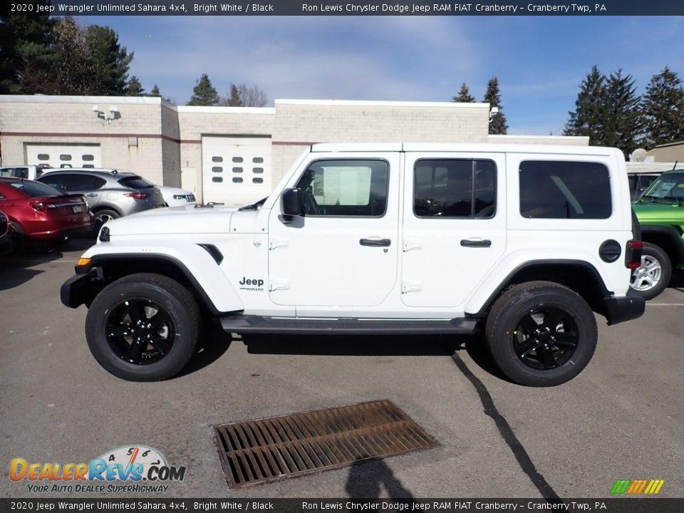 2020 Jeep Wrangler Unlimited Sahara 4x4 Bright White / Black Photo #2