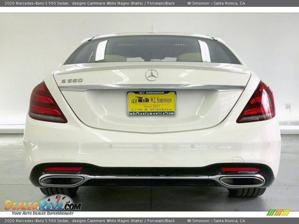 2020 Mercedes-Benz S 560 Sedan designo Cashmere White Magno (Matte) / Porcelain/Black Photo #3