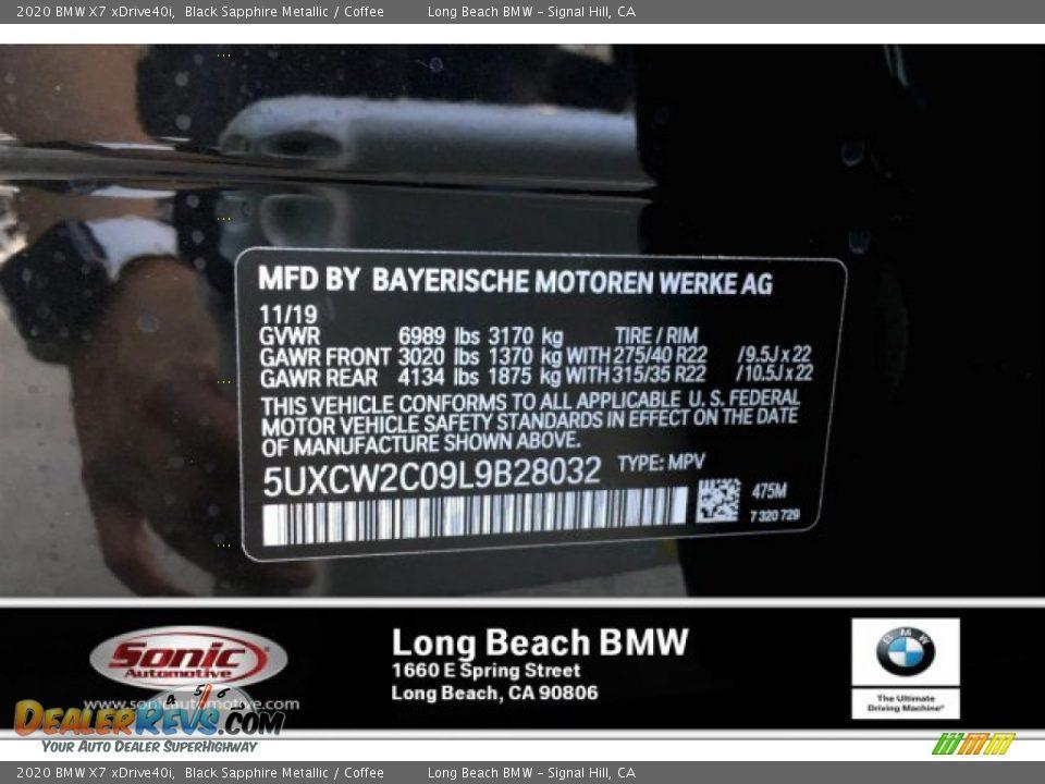 2020 BMW X7 xDrive40i Black Sapphire Metallic / Coffee Photo #11