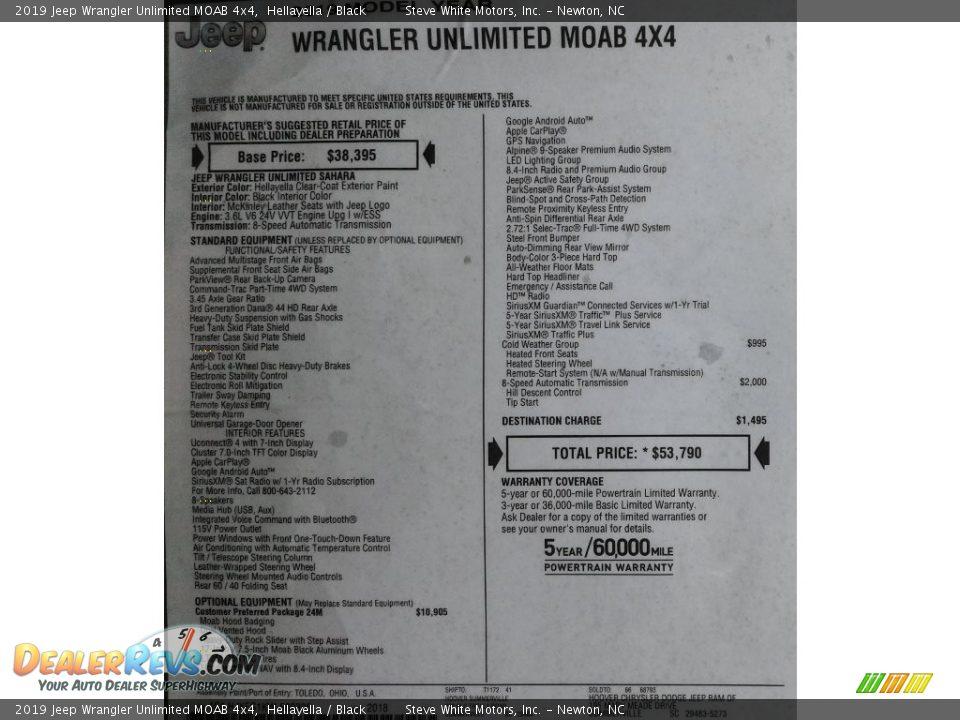 2019 Jeep Wrangler Unlimited MOAB 4x4 Window Sticker Photo #34