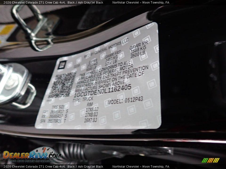 2020 Chevrolet Colorado Z71 Crew Cab 4x4 Black / Ash Gray/Jet Black Photo #17