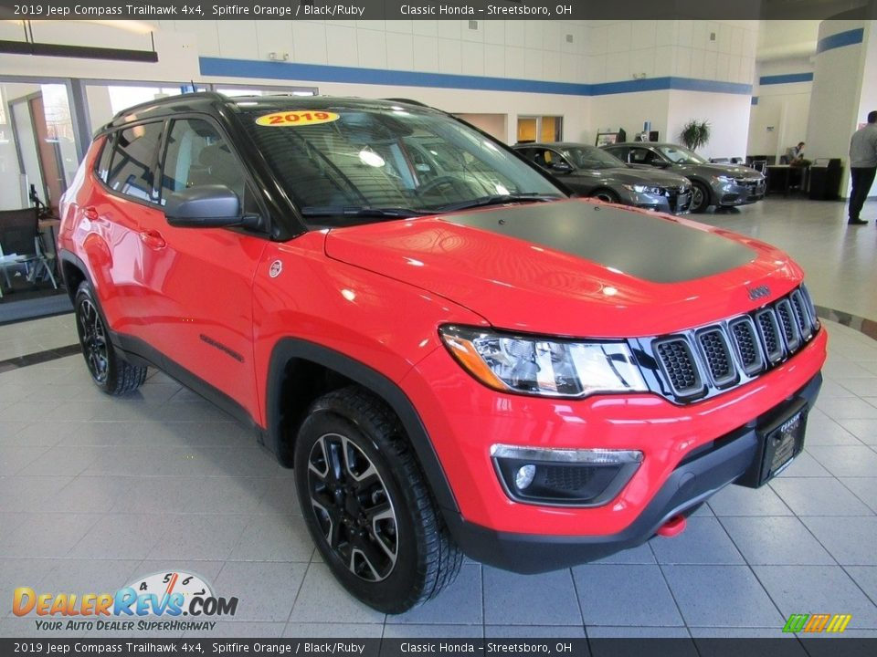 2019 Jeep Compass Trailhawk 4x4 Spitfire Orange / Black/Ruby Photo #3