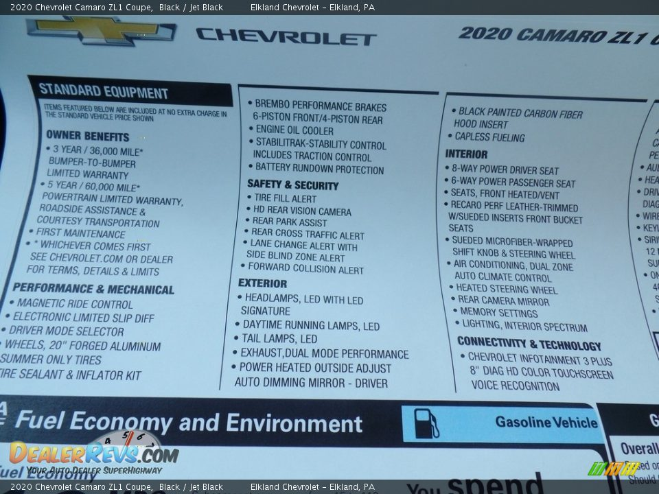 2020 Chevrolet Camaro ZL1 Coupe Window Sticker Photo #35