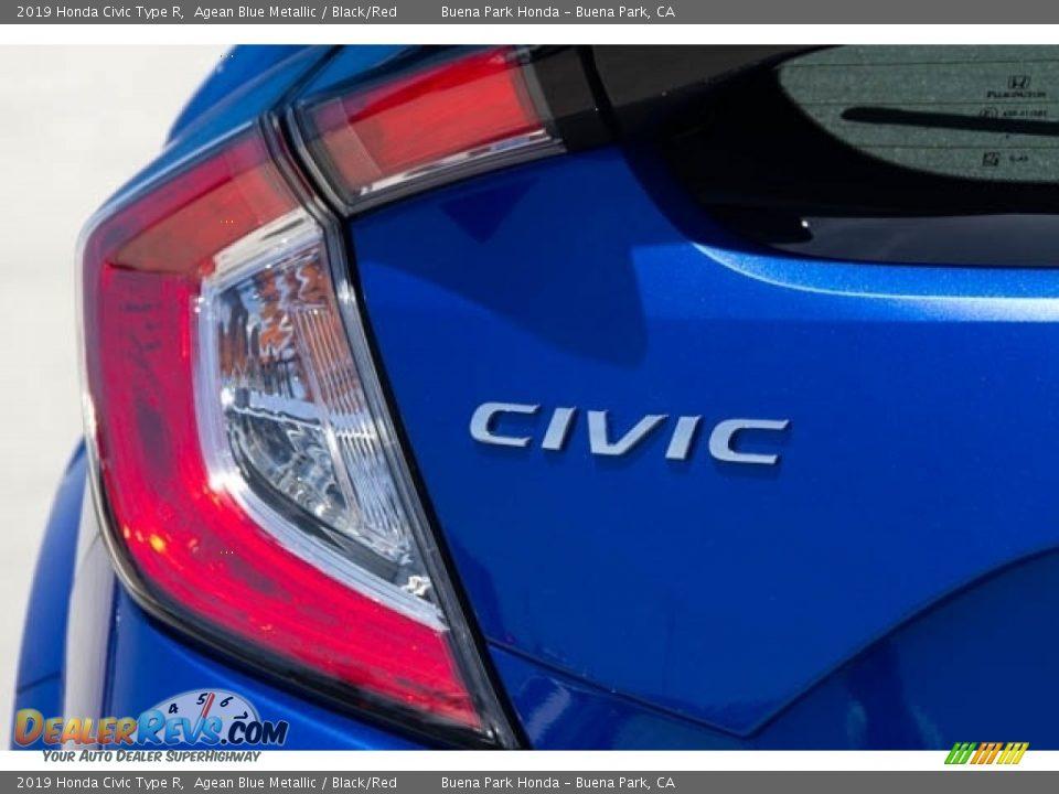 2019 Honda Civic Type R Agean Blue Metallic / Black/Red Photo #7
