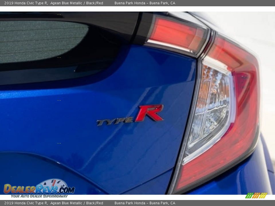 2019 Honda Civic Type R Agean Blue Metallic / Black/Red Photo #8