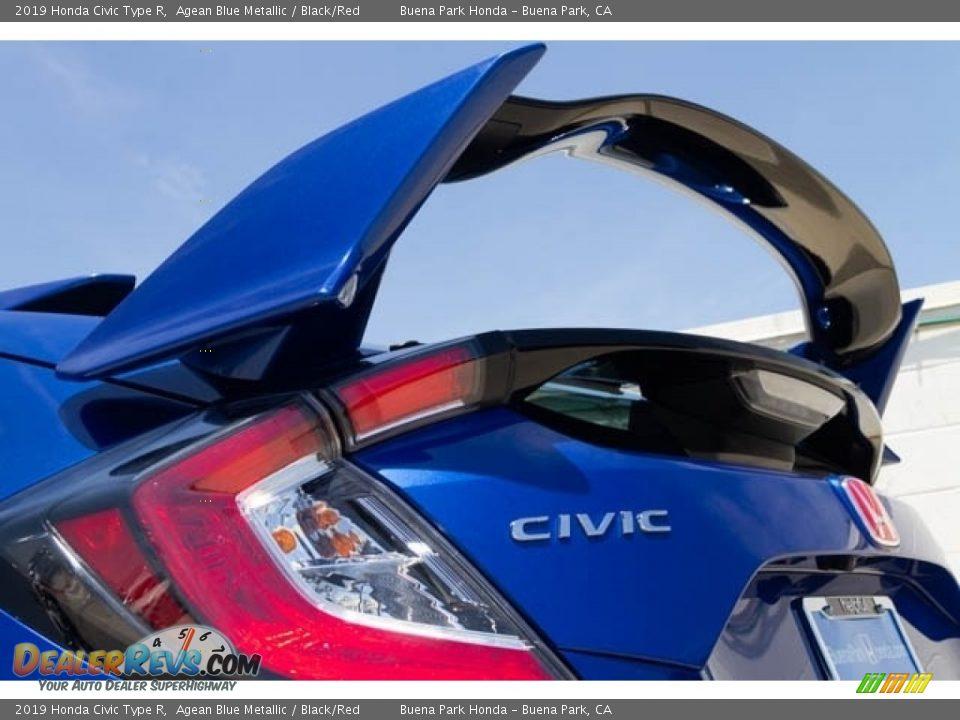 2019 Honda Civic Type R Agean Blue Metallic / Black/Red Photo #9