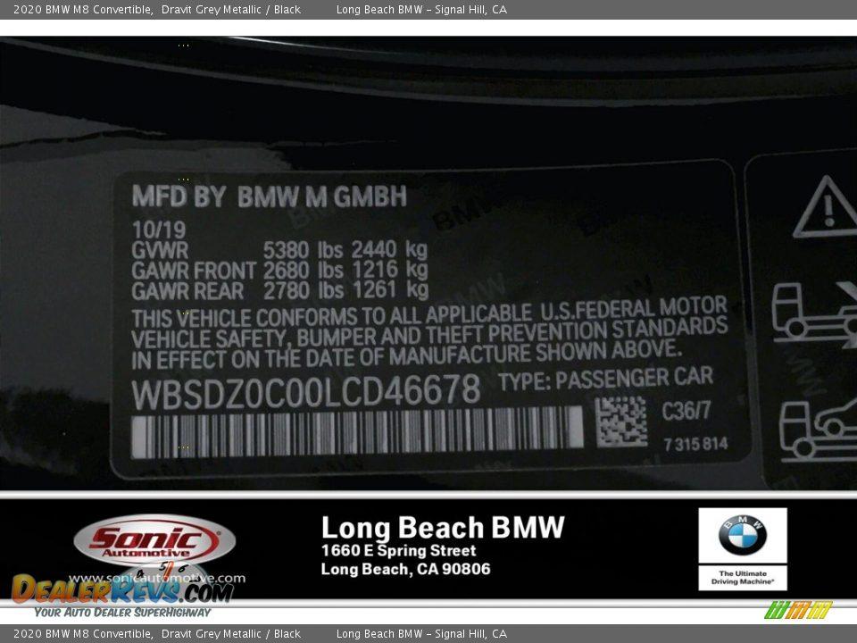 2020 BMW M8 Convertible Dravit Grey Metallic / Black Photo #11
