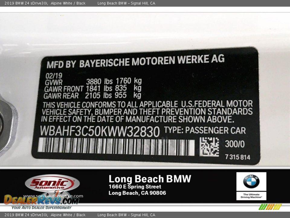 2019 BMW Z4 sDrive30i Alpine White / Black Photo #11
