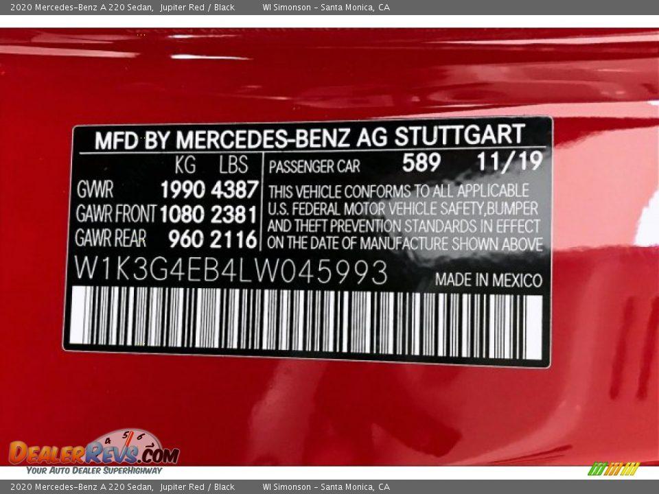2020 Mercedes-Benz A 220 Sedan Jupiter Red / Black Photo #11