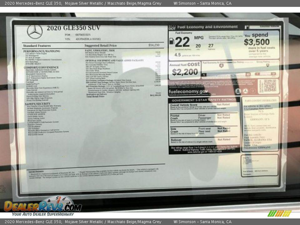 2020 Mercedes-Benz GLE 350 Mojave Silver Metallic / Macchiato Beige/Magma Grey Photo #10