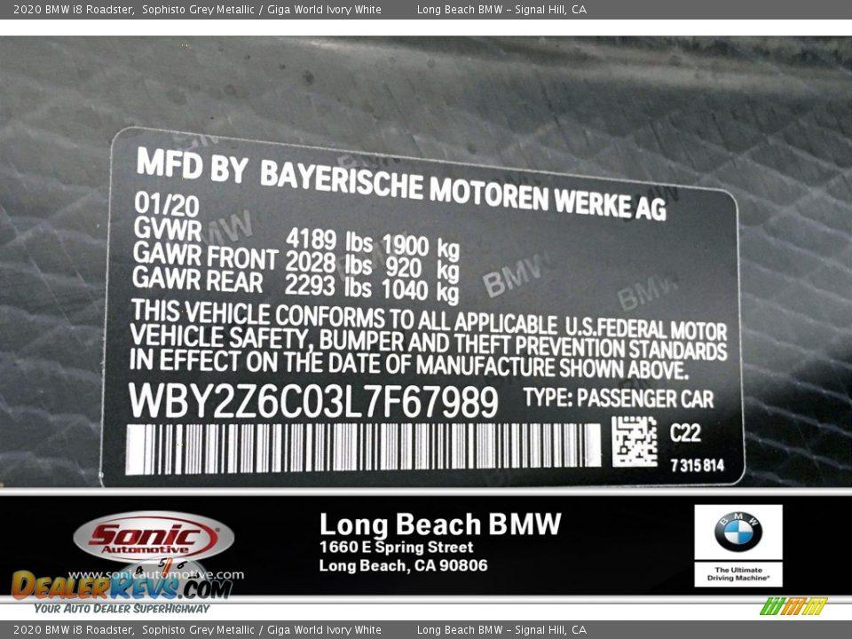 2020 BMW i8 Roadster Sophisto Grey Metallic / Giga World Ivory White Photo #18