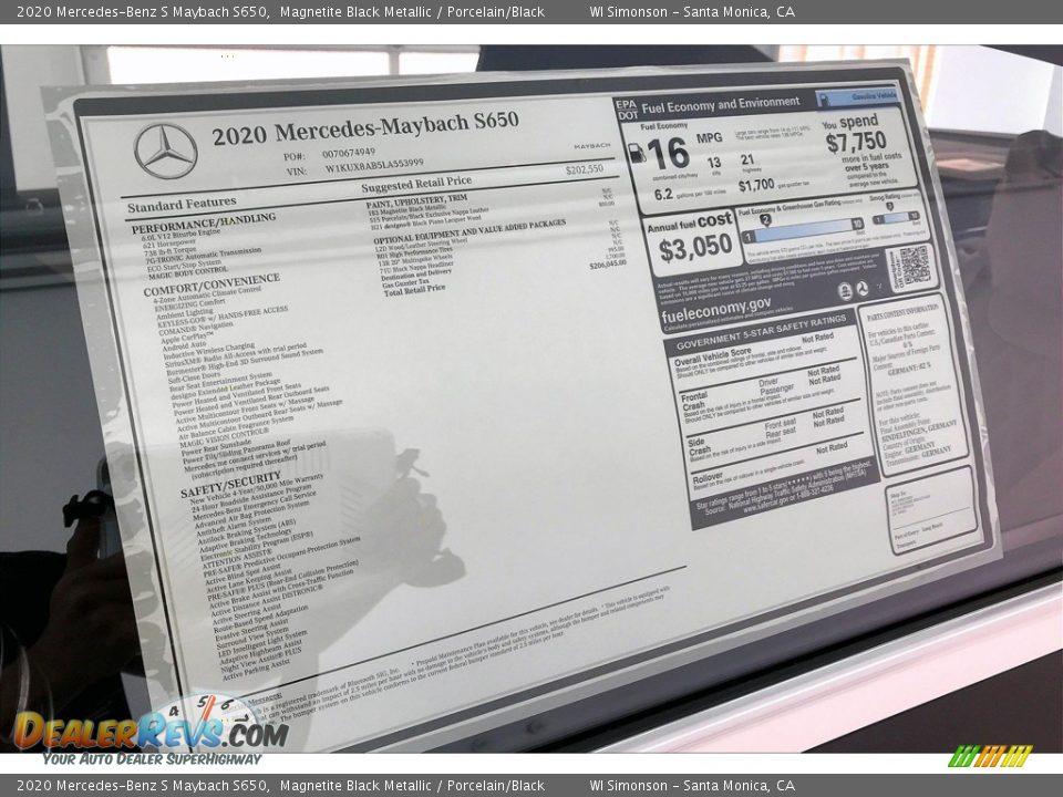 2020 Mercedes-Benz S Maybach S650 Magnetite Black Metallic / Porcelain/Black Photo #11