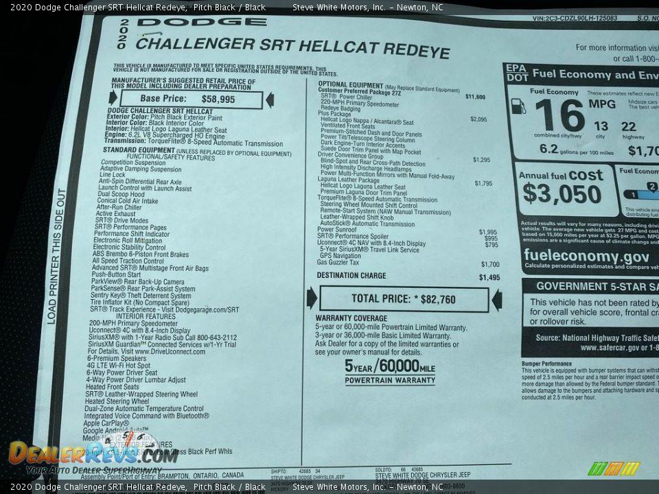 2020 Dodge Challenger SRT Hellcat Redeye Window Sticker Photo #34