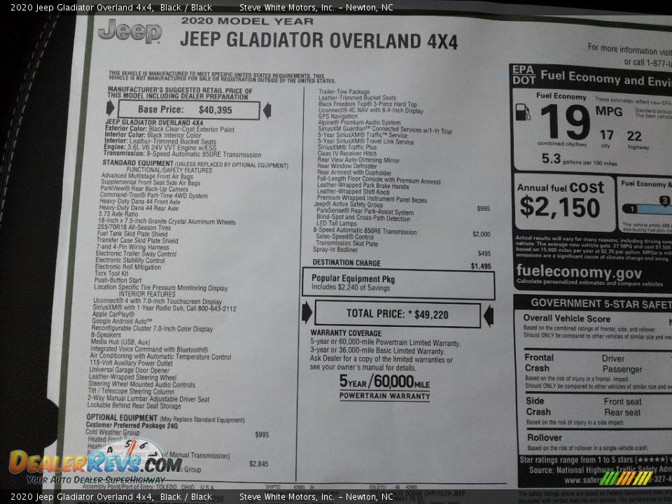 2020 Jeep Gladiator Overland 4x4 Black / Black Photo #30