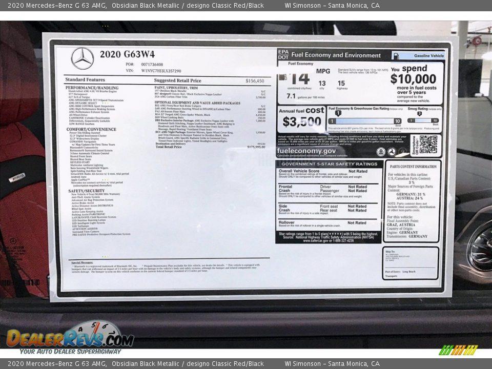 2020 Mercedes-Benz G 63 AMG Obsidian Black Metallic / designo Classic Red/Black Photo #11