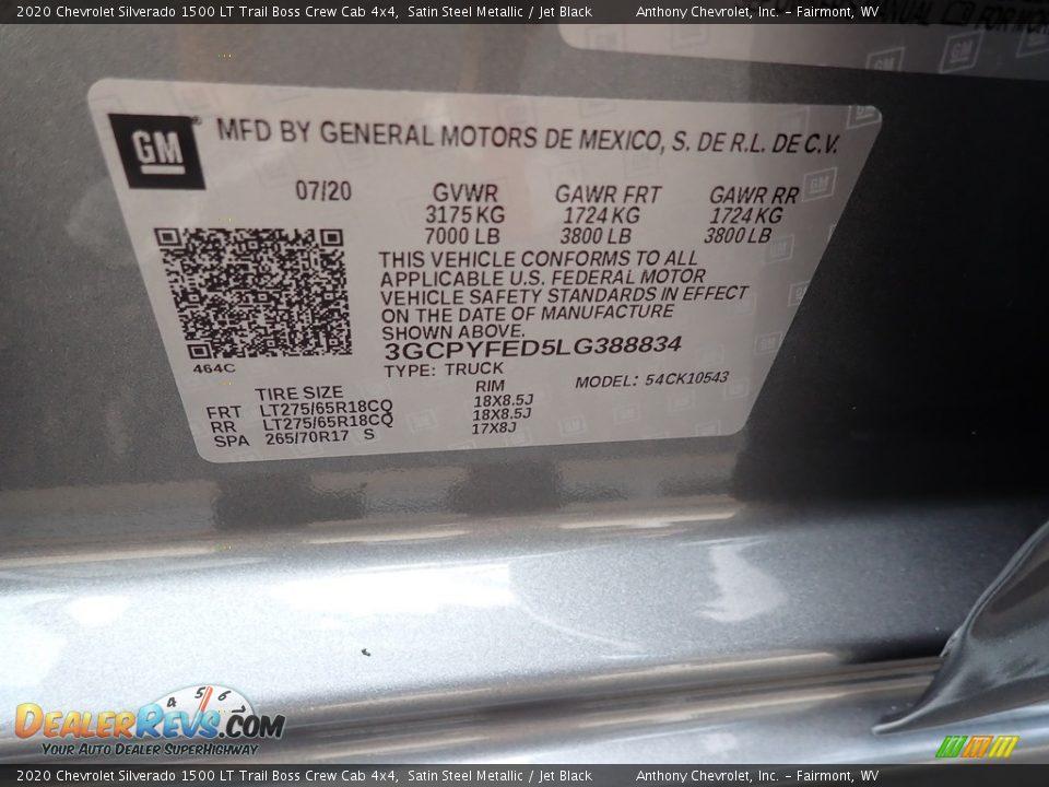 2020 Chevrolet Silverado 1500 LT Trail Boss Crew Cab 4x4 Satin Steel Metallic / Jet Black Photo #15