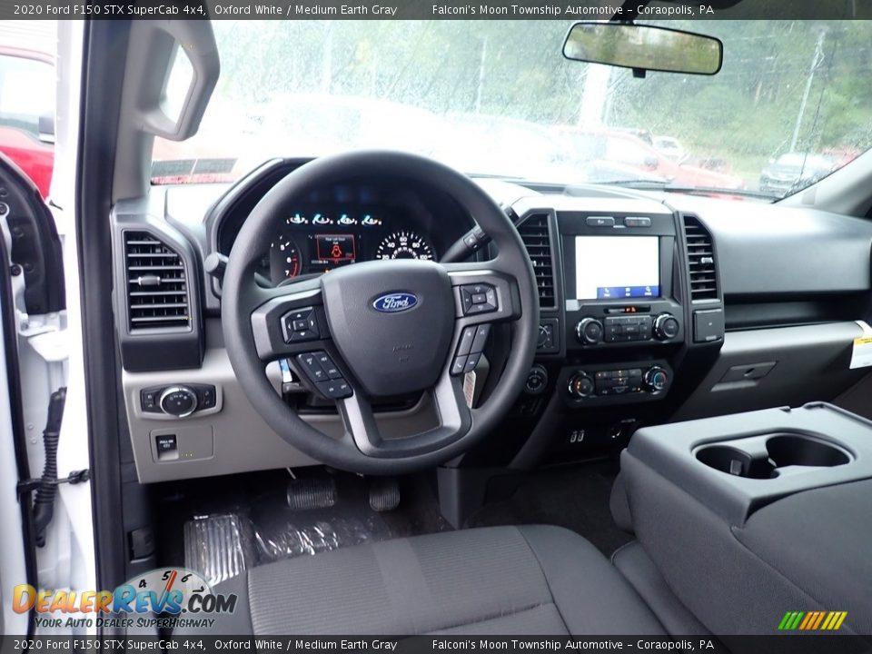 2020 Ford F150 STX SuperCab 4x4 Oxford White / Medium Earth Gray Photo #12