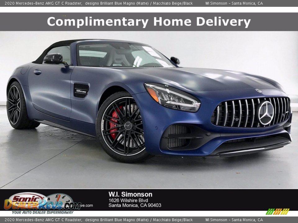 2020 Mercedes-Benz AMG GT C Roadster designo Brilliant Blue Magno (Matte) / Macchiato Beige/Black Photo #1