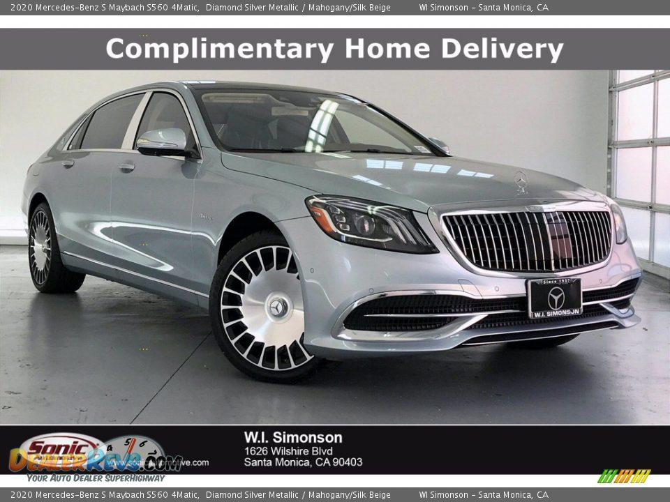 2020 Mercedes-Benz S Maybach S560 4Matic Diamond Silver Metallic / Mahogany/Silk Beige Photo #1