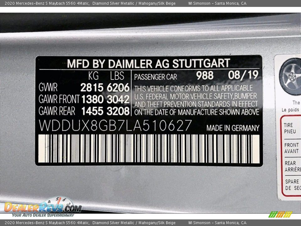 Diamond Silver Metallic Color Code - 2020 Mercedes-Benz S Maybach S560 4Matic Photo #11
