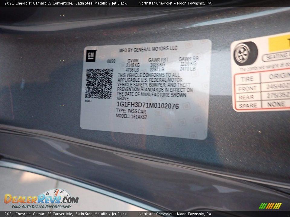 2021 Chevrolet Camaro SS Convertible Satin Steel Metallic / Jet Black Photo #14