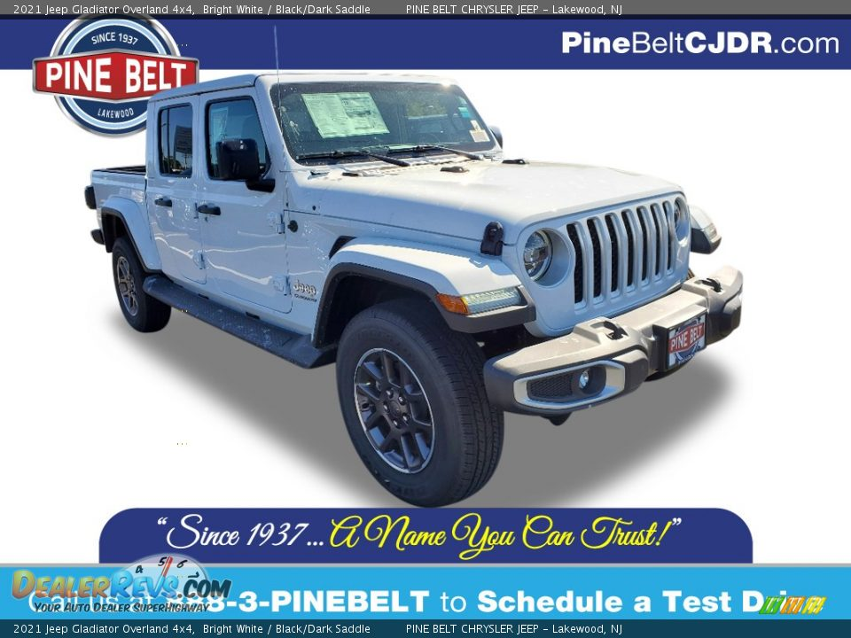 2021 Jeep Gladiator Overland 4x4 Bright White / Black/Dark Saddle Photo #1