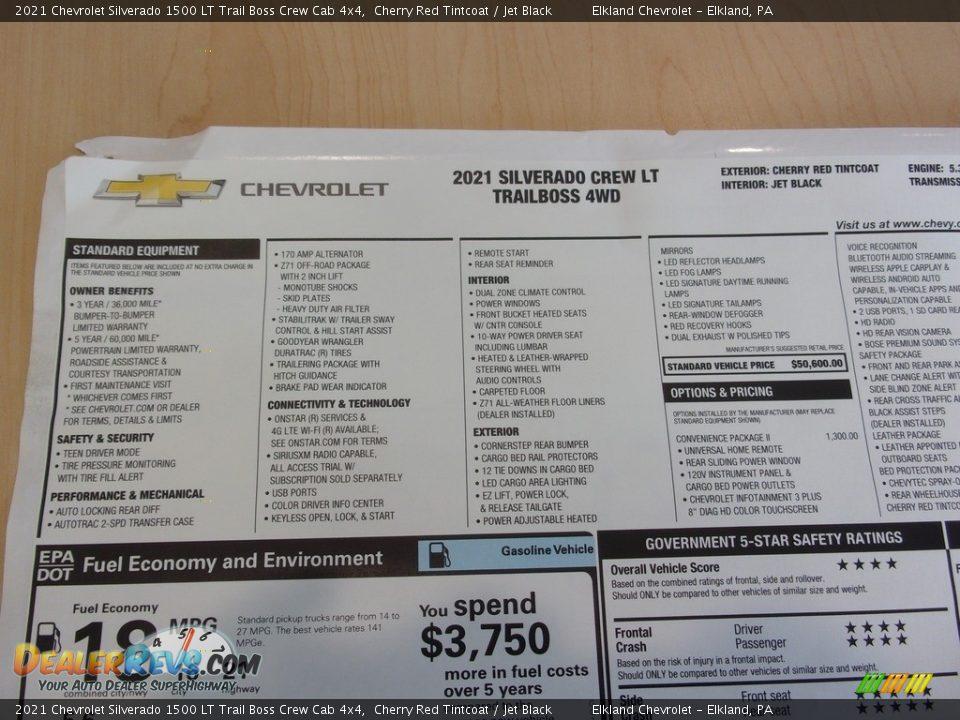 2021 Chevrolet Silverado 1500 LT Trail Boss Crew Cab 4x4 Window Sticker Photo #33
