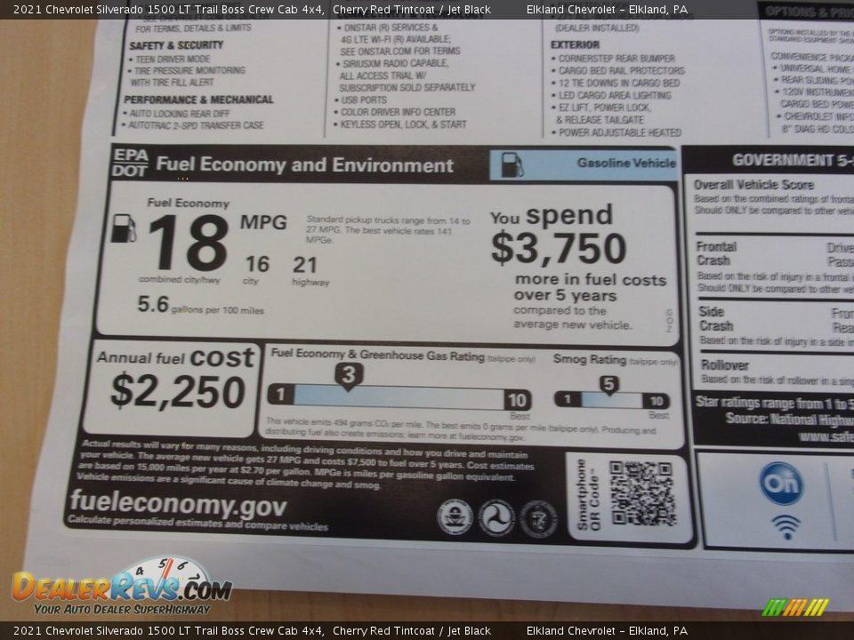 Info Tag of 2021 Chevrolet Silverado 1500 LT Trail Boss Crew Cab 4x4 Photo #35