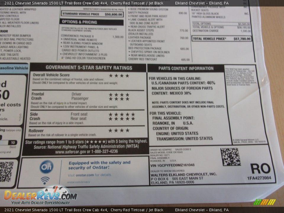 2021 Chevrolet Silverado 1500 LT Trail Boss Crew Cab 4x4 Window Sticker Photo #36