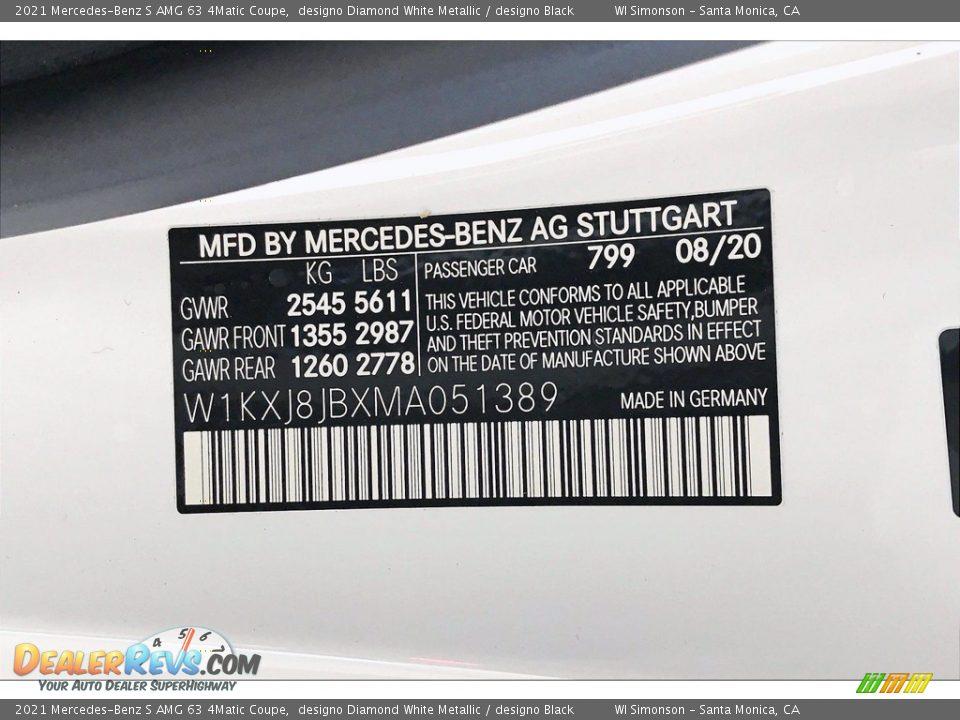 2021 Mercedes-Benz S AMG 63 4Matic Coupe designo Diamond White Metallic / designo Black Photo #11