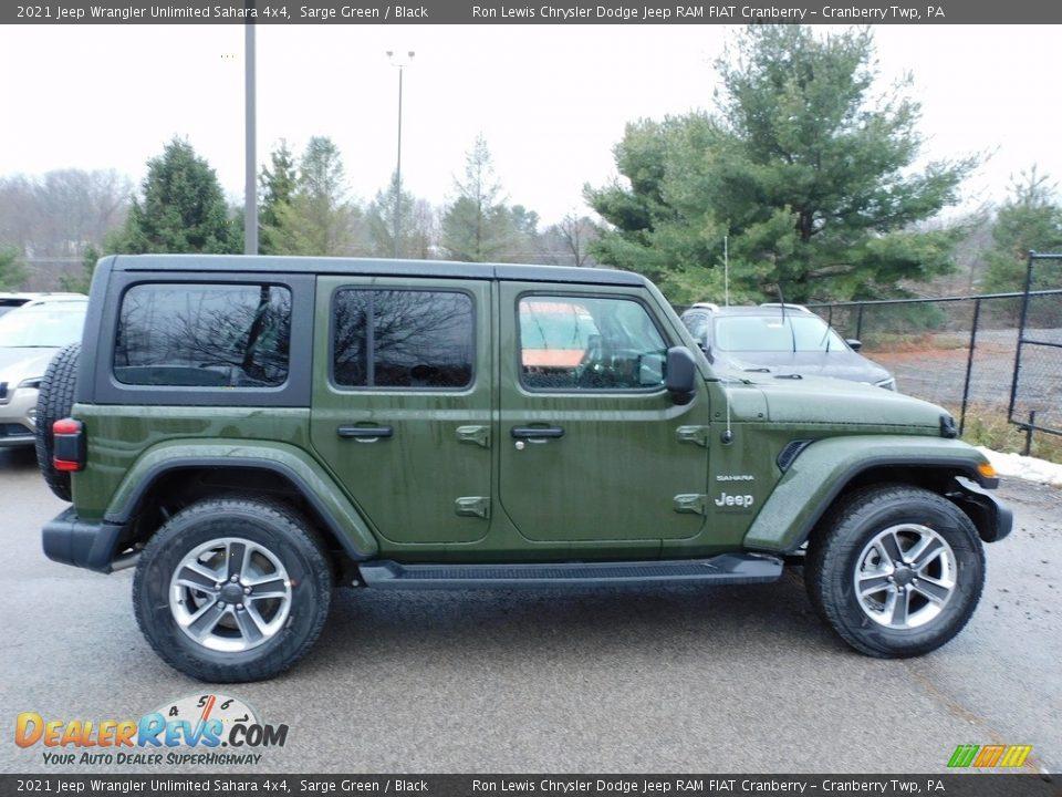 2021 Jeep Wrangler Unlimited Sahara 4x4 Sarge Green / Black Photo #4
