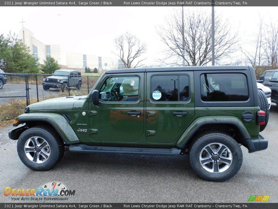 2021 Jeep Wrangler Unlimited Sahara 4x4 Sarge Green / Black Photo #9