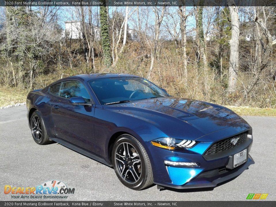 2020 Ford Mustang EcoBoost Fastback Kona Blue / Ebony Photo #5