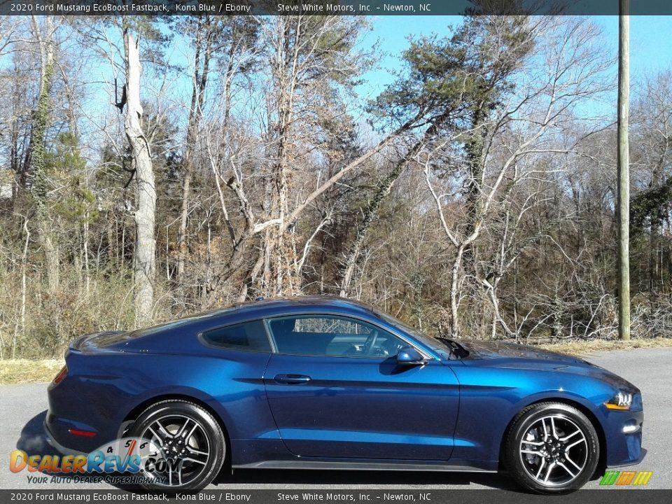 2020 Ford Mustang EcoBoost Fastback Kona Blue / Ebony Photo #6