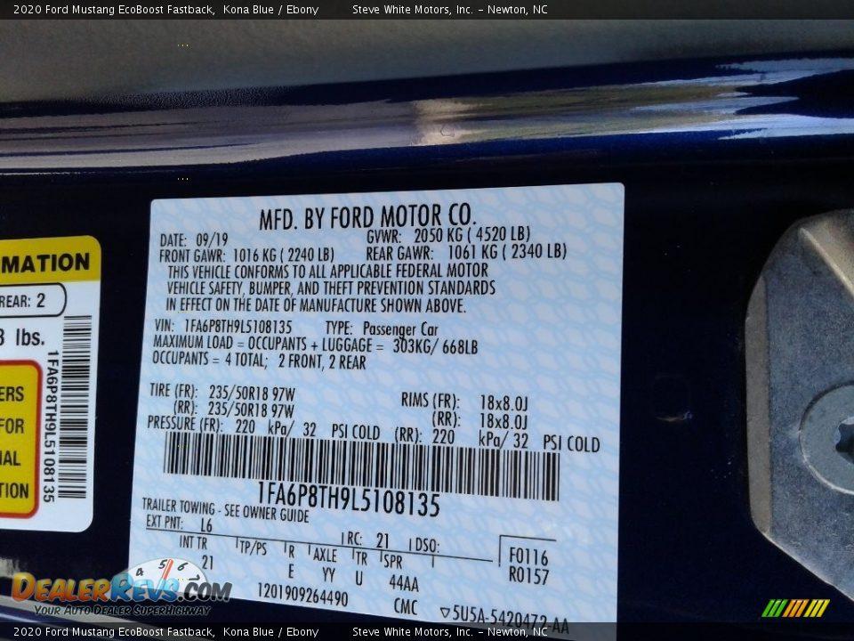 2020 Ford Mustang EcoBoost Fastback Kona Blue / Ebony Photo #23